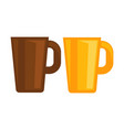 big deep tea cups made of ceramic isolated vector image vector image