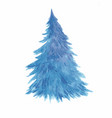 blue lush christmas tree in snow as symbol happy vector image