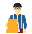 Boss receiving file from employee vector image vector image