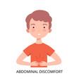 boy suffering from abdominal discomfort symptom vector image