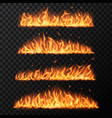 burning fire tongues on transparent background vector image vector image