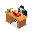 Businessman office workroom with laptop and vector image