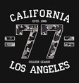 california los angeles graphic design for t-shirt vector image vector image
