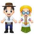 cartoon brazilians couple wearing traditional cost vector image vector image