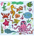 Cartoon Funny Fish Sea Life backgroundColored vector image