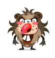cartoon of a hairy monster with a big mouth of vector image vector image