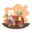 couple using laptop in livingroom vector image vector image