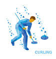 curling cartoon player clear way to stone vector image