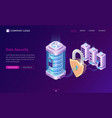 cyber data security isometric landing page banner vector image