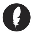 detailed feather silhouette in a black circle vector image vector image