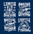 diving fishing print with crab lobster and squid vector image vector image
