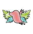 doodle silhouette bird with exotic leaves reserve vector image vector image