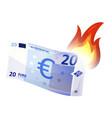 euro bill burning vector image