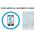 Euro Mobile Bank Account Icon with 1000 Medical vector image