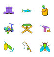 fish sport icons set cartoon style vector image