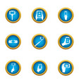 footage icons set flat style vector image