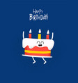 funny happy birthday card cake with candels vector image vector image