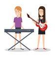 girls playing musical instruments together vector image
