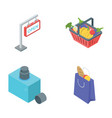 grocery shopping icons vector image
