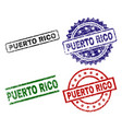grunge textured puerto rico seal stamps vector image