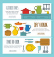 kitchen doodle three horizontal banners vector image vector image