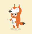 little kid characters in fox costume vector image