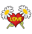 Love Heart and Chamomile Logo for Valentines day vector image