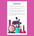 makeup tools and decorative elements promo poster vector image vector image