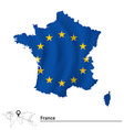 Map of France with European Union flag vector image vector image
