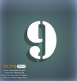 number Nine icon sign On the blue-green abstract vector image