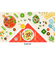 pasta and ravioli cooking and ingredients vector image vector image