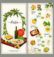 pasta menu of italian cuisine restaurant tempalte vector image