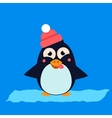 Penguin Wearing Hat Grimacing on Ice vector image vector image
