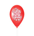 red balloon with inscription happy new year vector image