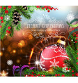red christmas ball with sparkles and fir branches vector image vector image