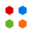 set of colorful stitched hexagon shape vector image vector image