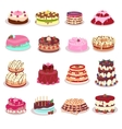 Set of Decorated Cakes in Flat Design vector image vector image