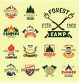 set of vintage woods camp badges and travel logo vector image vector image