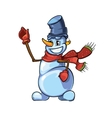 snowman with red scarf pointing to top vector image vector image