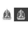 space shuttle flying to moon emblem vector image vector image