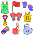 sport equipment object various doodles vector image vector image
