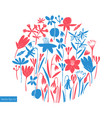 spring flowers round design scandinavian style vector image