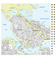 street map downtown vancouver with pin pointers vector image vector image