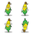 sweet corn character cartoon set collection vector image vector image