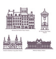 thin line poland or polish architecture buildings vector image