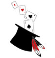 top hat with feathers from which come aces of vector image