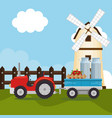 tractor in the farm scene vector image