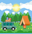 travel car campsite place landscape forest sun vector image