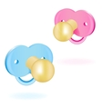 Two babys dummy pink and blue vector image vector image