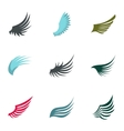 Wings of bird icons set flat style vector image